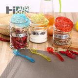 400ml puliscono il vaso di vetro di memoria tè/dell'alimento con i coperchi ed il cucchiaio di colori