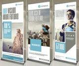 Barre à café intérieur en plein air Rétroviseur en aluminium rétractable Affichage en bannière pour campagne promotionnelle