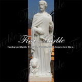 Scultura di pietra di marmo bianca Mano-Intagliata per la decorazione domestica Ms-1016