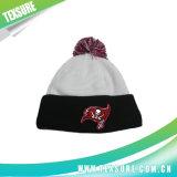 Sombrero blanco y negro de la gorrita tejida del invierno con la tapa de la bola que hace punto (093)