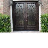 Vidrio barato de la puerta del hierro labrado del metal del precio