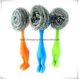 Épurateur d'assiette de maille d'épurateur de nettoyage de cuisine/nettoyage avec le traitement/épurateur fonctionnel d'acier inoxydable de maille