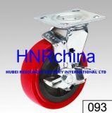 Roter PU-industrieller Schwenker mit Verschluss-Fußrolle