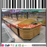Cremalheiras de indicador do vegetal e da fruta do supermercado da madeira contínua