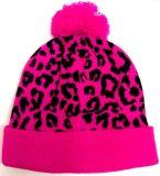 Изготовленный на заказ шлем Beanie леопарда POM POM жаккарда
