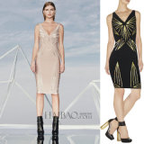 Платье повязки глянцеватой шеи Sequins v безрукавный