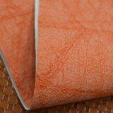 オレンジブラウンによって浮彫りにされるのどPUの革は、袋の革を模倣する
