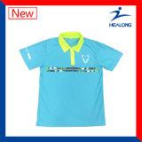 Formar todas as camisas de polo do Mens da engrenagem dos esportes do logotipo em linha