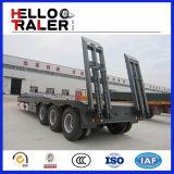40-60ton 3車軸低い平面トラックのトレーラーの拡張可能で低いベッドのトレーラー