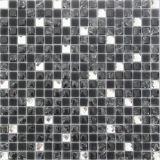 Tuiles blanches mélangées noires de miroir de diamant de verre cristal