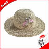 Chapéu flexível do chapéu de Sun da palha do Raffia com Stitchwork