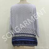 Neue Art-Rayon-Knicken-Druck-Bluse für Damen (BL-49)