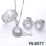 925 elegantes Sterling Silver Jewellery Set con White CZ