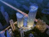 鳥瞰的な眺めをする高層ビル3Dの夜場面