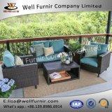 健康なFurnir 4部分の柳細工のソファーのクッションWf-17023が付いている深い座席のグループ