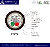 Cable óptico de fibra de Gyfts (fuerza central de FRP, encalladura floja de la capa del tubo, cinta de acero acorazadas)