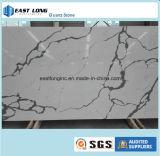De witte Marmeren Bovenkant van de Lijst van de Plak van het Kwarts van de Kleur van De Stevige Oppervlakte van het Bouwmateriaal