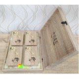 Rectángulo de regalo de madera del papel de arte del embalaje del té de cuatro colores