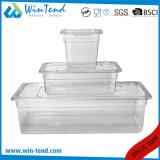 La vendita calda BPA libera il certificato che il formato di plastica trasparente GN della cucina 1/4 del ristorante fa una panoramica di