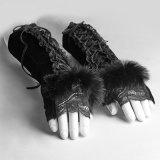 S-227 de gotische Handschoenen van Fingerless van het Konijn van het Kant van de Dames van de Partij van het Kostuum van het Fluweel Zwarte
