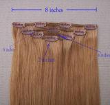 O grampo brasileiro o mais de alta qualidade de Remy do Virgin no cabelo humano