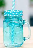 Coperchio colorato blu del vaso di muratore multi con la paglia della maniglia