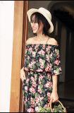 Sommer-Kleid-Frauen O-Stutzen reizvolle Brücke-blosse Blumenspitze stickte Häkelarbeithippie-Ministrand-Kleid