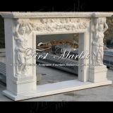 Bordi bianchi Mfp-614 del camino di Carrara del granito di pietra di marmo