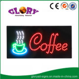 Muestra abierta de la muestra de neón de la cafetería que contellea de la luz Animated del movimiento