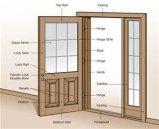 内部の材木の木のドア