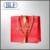 Saco de papel luxuoso recicl no vermelho