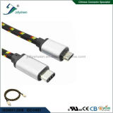 Macho de USB3.1 C à micro cabeça masculina de Matel do cabo 5p com Ce de nylon RoHS da trança