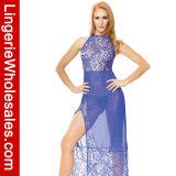 Reizvolle blaue Spitze der Frauen und Ineinander greifen-hohes Reißverschluss-Schlitz-Kleid-Kleid