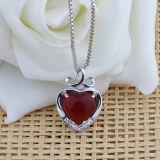 Manier 925 van vrouwen de Zilveren Rode Halsband van de Tegenhanger van de Vorm van het Hart van het Agaat met Ketting