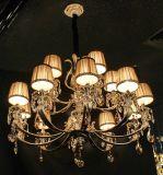 Iluminación pendiente de la decoración cristalina moderna de Swarovski de los brazos de Phine pH-0814z 8 con la luz de la lámpara de la lámpara del dispositivo de la cortina de la tela