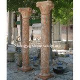 Coluna de mármore da escultura de pedra vermelha do por do sol (SY-C018)
