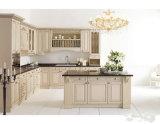Gabinetes de cozinha de madeira da madeira contínua da mobília do estilo de America do Norte