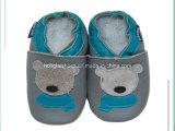 くまパターン: 革赤ん坊靴