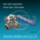Three Way T Port filetage femelle en acier inoxydable Ball Valve