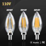 D'E17 DEL de filament rétro Edison ampoule de bougie de la lumière 110V 120V