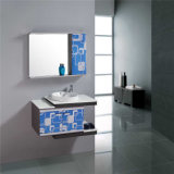 シンプルな設計の壁に取り付けられた鋼鉄浴室の洗面器のキャビネット
