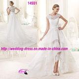 Schöne Hig-Niedrige Spitze-Organza-Kleid-Hochzeit mit rundem Ausschnitt