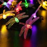 Iluminación decorativa impermeable 10 luces accionadas solares de la cadena de la libélula del LED