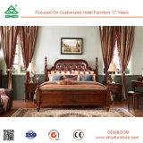 Antiker Best-Verkauf und zart europäisches barockes Rococo Art-Luxuxholz geschnitztes ledernes Bett