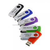 Mecanismo impulsor promocional del flash de la tarjeta del palillo del USB del eslabón giratorio de la idea con insignia