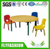 Kindergarten School Furniture Wooden Round Children Table with Chair