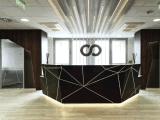 Bureau de réception extérieur extérieur solide noir de bureau de Corian Matt