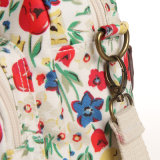 Wasserdichtes Belüftung-Reißverschluss-weißes Segeltuch-Blumenmustertote-Beutel (23258)