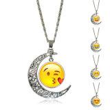 Di Emoji del fronte di sorriso del Emoticon della luna collana Chain di vetro del pendente del metallo Cabochon