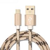 1m 마이크로 USB 케이블 땋는 철사 금속 쉘 Gold-Plated 연결관 Samsung/소니/Xiaomi/Huawei를 위한 인조 인간 USB 케이블